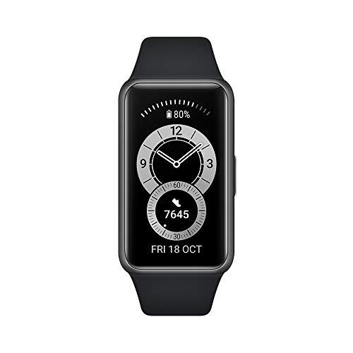 HUAWEI Band 6 Reloj Inteligente Deportivo + Adaptador Tipo C, Seguimiento del Ritmo cardiaco, del SpO2 y del sueño, 96 Modos de Entrenamiento, duración de 2 semanas, Color Negro