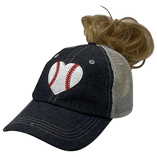 Cocomo Soul Messy Bun Embroidered Baseball Heart Baseball Love Baseball Mom Mesh High Ponytail Bun Opening Style Hat Cap Dark Grey