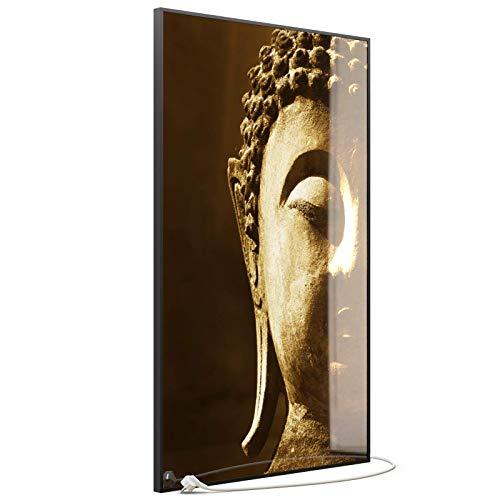 STEINFELD Heizsysteme® Glas Bild Infrarotheizung mit Thermostat | Made in Germany | viele Motive 350-1200 Watt Rahmen schwarz (900 Watt, 025H Buddha)