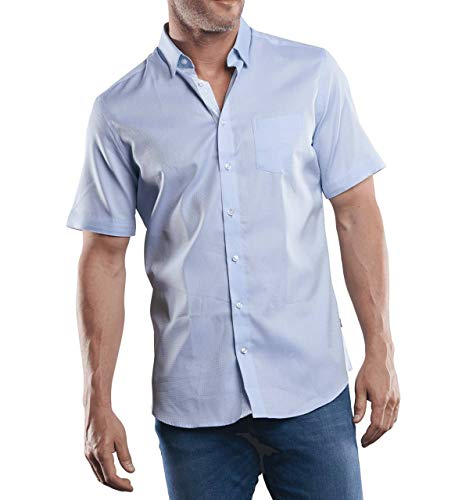 engbers Herren 100% bügelfreies Hemd, 29454, Blau in Größe XL
