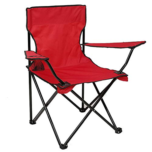 N2 Uncommon Life Folding Camping Chair, Portable Carry Bag for Storage and Travel, Best Durable Outdoor Quad Beach Chairs, Comfortable Arms, Space Saving, Lightweight Great for Transport (Red)