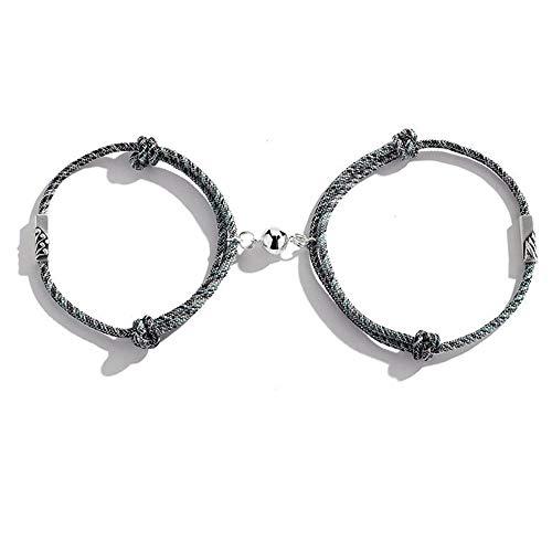 2 Stück handgewebtes Paar Seil Armband, verstellbares Freundschaftsseil Geflochtene Distanz Magnetisches Paar Armband für Sie und Ihn