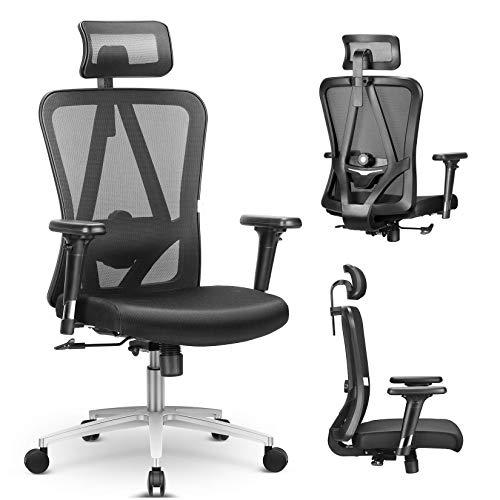 mfavour Office Drehstuhl Bequemer Sitz Ergonomischer Bürostuhl mit 3D-Armlehnen, Kopfstützenhöhe Lendenwirbelstütze Verstellbare Rückenlehne - max. 200 kg