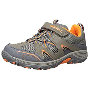 Merrell Trail Chaser Hiking Sneaker, Gunsmoke/Orange, 5 US Unisex Big Kid