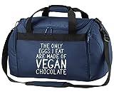 Flox Creative Holdall Bag Only Eggs I Eat Vegan Chocolate, Marina Militare, Taglia Unica