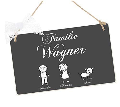 Türschild aus Holz für die Familie in Grau u. Weiß mit Figuren u. Namen