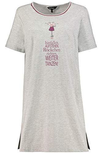Ulla Popken Damen Größen Longshirt, Fee-Organic Nachthemd, Grau (Grau-Melange 72794212), 58-60