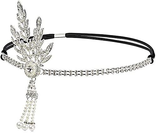 DRESHOW Art Deco 1920 Flapper Gran Gatsby Leaf Boda Nupcial Tiara Perla Diadema