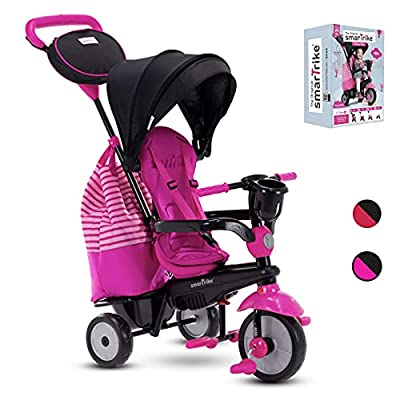 smarTrike Swing 4-in-1 Toddler Tricycle Push Bike – Adjustable Trike for Baby, Toddler, Infant Ages 15 Months to 3 Years (Red) (Pink) by Smart Trike