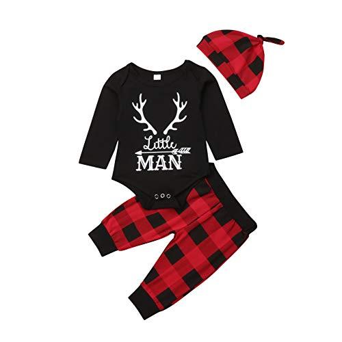 Geagodelia 3tlg Babykleidung Set Baby Jungen Langarm Body + Hose + Mütze Kleinkinder Neugeborene Weiche Warme Baumwolle Babyset Bekleidung (0-6 Monate, Little Man (Schwarz + Rot Karierte))