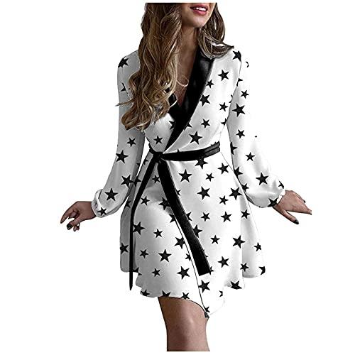 Robe à manches longues, pyjama, robe pyjama, robe en tricot, avec lacets, pour adolescentes, filles, ligne A, loisirs, fête, cardigan, longueur genou., Blanc., XL