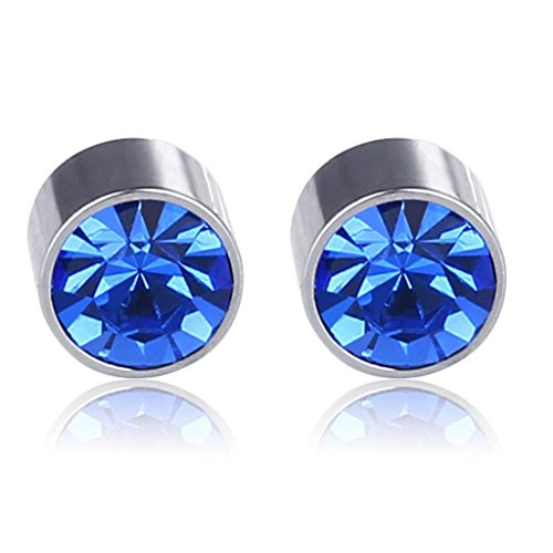 Lottoy 1 Pair Unisex Weight Loss Ear Stud, Healthy Stimulating Acupoints Magnetic Therapy Earrings,No Piercing (Royal Blue)