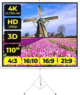 Schermo Proiezione Treppiede Provis(110 Pollici) 200cm Multi Formato 4:3 16:9 16:10 200x200 2 Metri Leggero Schermo Proiettore 2mt Telo Proiettore Schermo Bordi Videoproiezione 2 mt 4K HD 3D