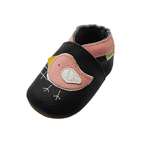 Sayoyo Rosa Vogel Krabbelschuhe Leder Mokassins Weiche Sohle Babyschuhe(0-6 Monate, Schwarz)