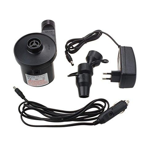 SODIAL Pompe a air electrique Pompe electrique avec 3 accessoires pour matelas pneumatiques,gonflable flottant ou camping -Pompage automatique et rapide de haut en bas