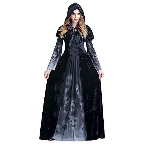 Halloween Damen Kleid Kostüm - Anziehende Sensenmann Kleidung mit Umhang Kapuze für Allerheiligen Party Maskerade Cosplay Karneval Rollenspiel, Black, M