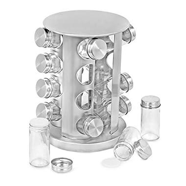 Internet's Best Revolving Spice Tower | Round Spice Rack | Set of 16 Spice Jars | Seasoning Storage Organization | Stainless Steel