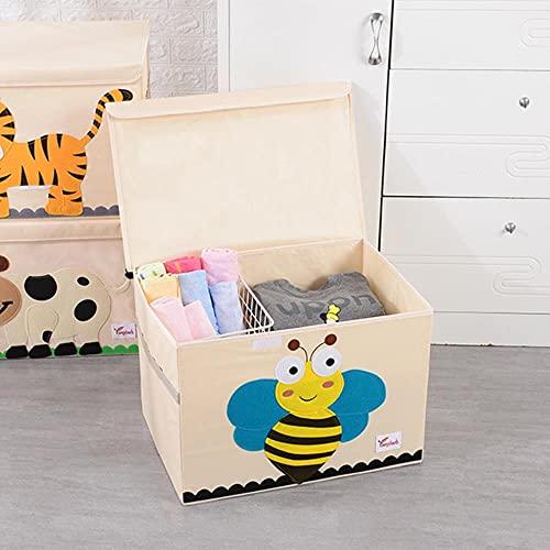 Organizador de ahorro de espacio Caja de almacenamiento plegable de dibujos animados con tapa Organizador de almacenamiento de juguetes Cofre Organización de ropa Contenedores Hogar Baño-Abeja