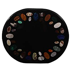 Queenza 24x29 Oval Great Black Marble Inlay Coffee Table Unique Design for Indoor, Outdoor | Enjoy Coffee with Imperial Feelings