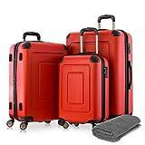 Happy Trolley - 3er Koffer-Set Trolley-Set Rollkoffer Hartschalen-Koffer Reisekoffer Lugano sehr leicht, TSA, (S, M & XL), Rot +Badehandtuch