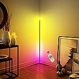 QJUZO Lampadaire Sur Pied LED Salon Design,Moderne Noir Lampadaire Chambre avec RGB et Télécommande,Luminosité Réglable Lampe sur Pied D'angle Colonne Lumineuse,Interrupteur au pied,20w 140cm