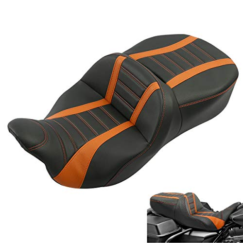 Deluxe One-Piece Two-Up Motorcycle Rider Passenger Seat For Harley Davidson Touring Road King Ultra CVO Street Glide Road Glide Electra Glide 2009-2020 (Black Orange)
