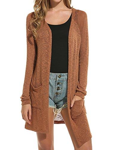 ELESOL Women's Open Front Casual Long Sleeve Knitted Cardigan Sweater Coffee XXL