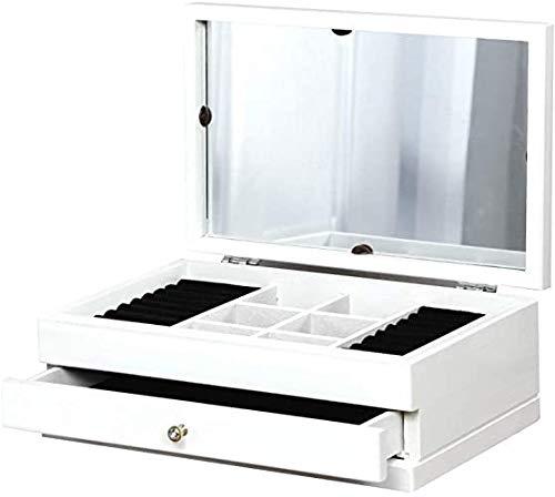 ISOTO Caja para Joyas de Madera con Cajone para Pendientes Collares Pulseras Aretes Joyero Organizador marrón Nogal (White)