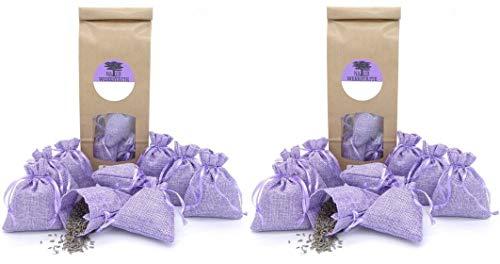 24 Lavendelsäckchen mit 240g getrockneten Lavendelblüten aus französischer Provence, Duftsäckchen zum Einschlafen, Duftsäckchen gegen Motten für Kleiderschrank, Lavendelbeutel, Violett