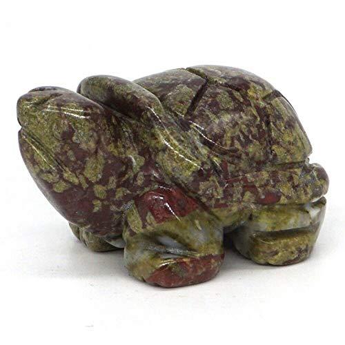 LIJUCAI 1,5-Estatua de Tortuga Tallado de Piedras Preciosas Naturales Figuras de Animales de Cristal curativo decoración de Piedras Reiki, Jaspe de Sangre de dragón