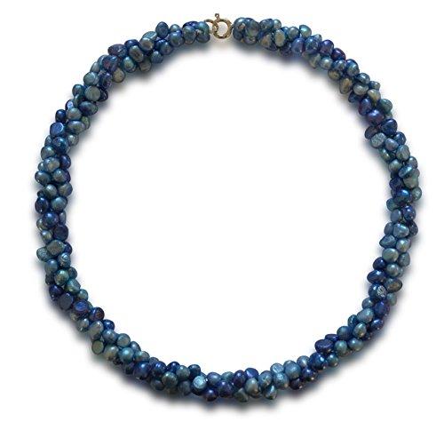 Vifaleno Collar de Perlas Natural de Freshwater, Perlas cultivadas de Agua Dulce, Barroco, Azul, Azul Oscuro, 5-6mm, Plata de Ley 925