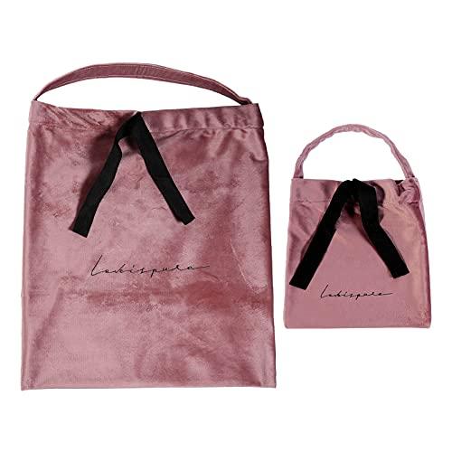 Lurrose 2 Stuks Zachte Doek Cosmetica Tas Trekkoord Make- Up Pouches Travel Toilettas Sieraden Gift Houder Cadeaupapier Zak Voor Snoep Kralen Gunsten Aanwezig Roze