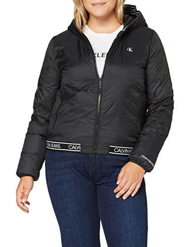 Calvin Klein Jeans Damen Logo Hooded Lw Padded Jacket Jacke, Schwarz, L