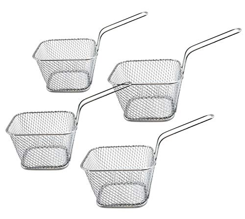 Miystn Pommes Körbchen, Fritierkorb, Mini Frittierkorb Ideal für Pommes, Pommes, Garnelen, Zwiebelringe (4PCS, 10,5 x 8,5 x 6,5 cm, Silber)