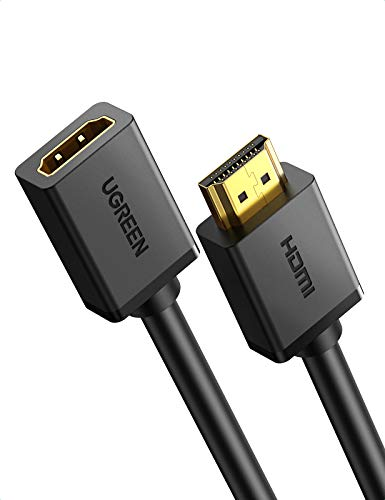 UGREEN Cable Alargador HDMI, Prolongador HDMI Macho a Hembra de Alta Velocidad con Ethernet 4K@60Hz 3D para Reproductores BLU-Ray, Smart TV, Chromecast, Xbox 360, PS3, PS4(1 Metros)