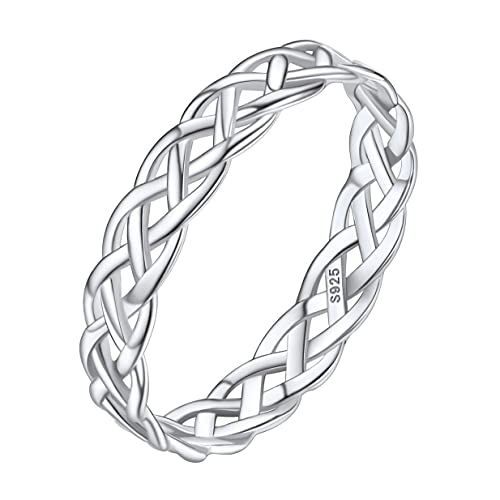 Women Wedding Band Ring Sterling Silver Celtic Knot Statement Rings Decorations for Mom Size 6