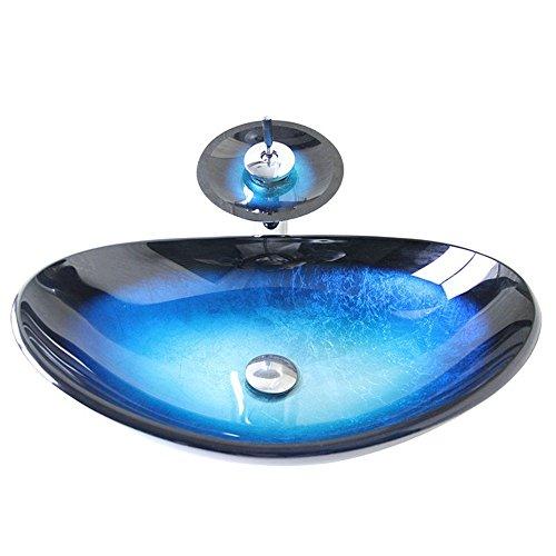 Homelava modernes Hartglas-Waschbecken mit Wasserfall-Wasserhahn, Abfluss und Montagering, blau
