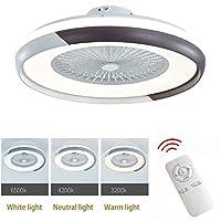 照明付きシーリングファン、調光可能なリモコン付きLEDシーリングランプ、調節可能な風速、寝室のリビングルーム用の32W現代のLEDシーリングライトシャンデリア,E 220v