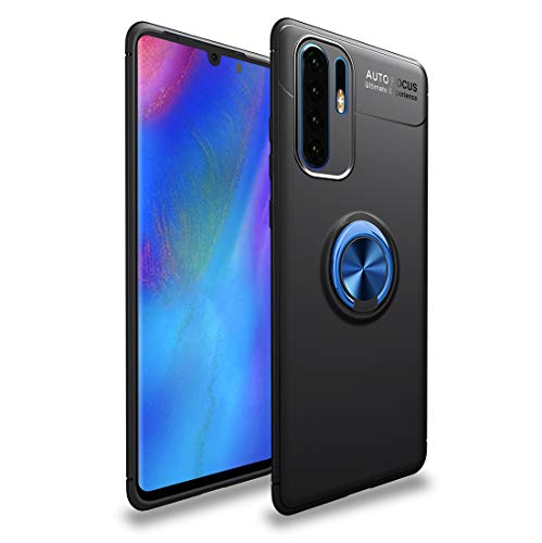 Dmtrab for Metal Ring Holder 360 Degree Rotating TPU Case for Huawei P30 Pro (Color : Black+Blue)