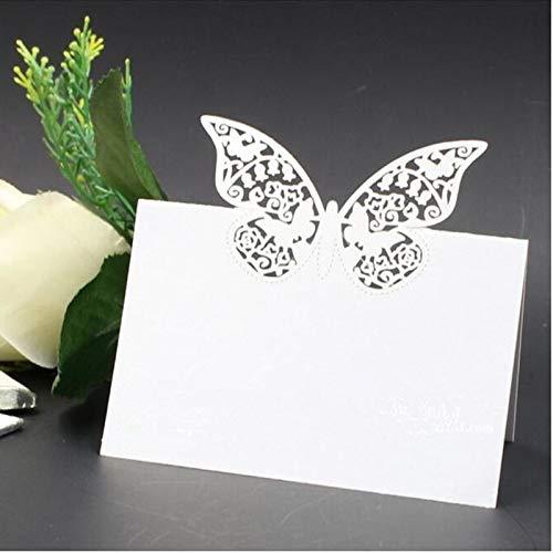 Musuntas 50Tlg Schmetterling Liebe Herz Laser Schnitt Namenskärtchen/Platzkarte / Namensschild/Sitzkarte / Namenskarte/Tischkarte / Tischkärtchen für Hochzeiten Feste oder Partys