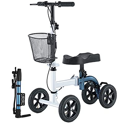 RINKMO Knee Scooter, All-Terrain Foldable Knee Walker Economical Knee Scooters for Foot Injuries Best Crutches Alternative (White+Blue?