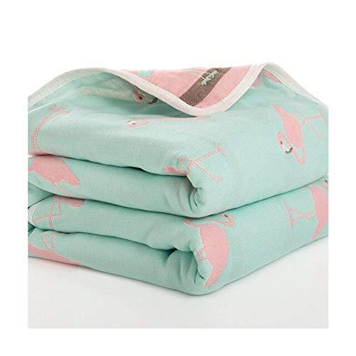Manta de baño para bebé de 110 cm de algodón de seis capas de muselina para recién nacido Verde flamenco Talla:110X110cm