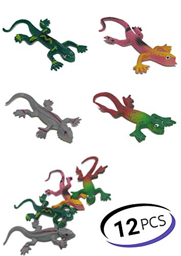 UpBrands Painted Rubber Stretchy Lizards Toys 3 Inches Bulk Set 4 Models Kit for Birthday Party Favors for Kids Goodie Bags Easter Egg Basket Stuffers Pinata Filler Classroom Prizes (12 Pack)