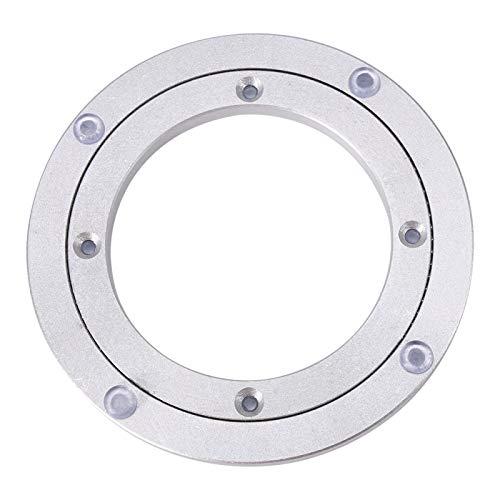 Cojinete redondo Cojinete giratorio de aleación de aluminio para servicio pesado Cojinete giratorio de plata lisa Herramienta para exhibición de artículos de decoración Mesa de (5.5inch*H8.5MM)