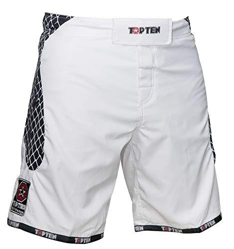 """MMA-Shorts """"Cage"""" - Gr. XL = 190 cm, Weiss-schwarz"""