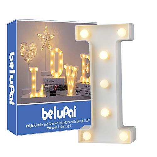 Alfabeto de luces LED para decoración, luces de letras blan