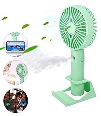 Misting Personal Fan, DeepDream Mini Handheld Fan, Small Portable Spray Fan Speed Adjustable, USB Desk Colorful Nightlight Fan for Kids Girls Woman Man Home Office Outdoor Travel (light green)