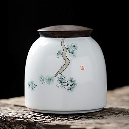XinQing Tanque de almacenamiento de alimentos Del carrito de té de cerámica Sugar Bowl, pintado a mano de estilo, Tanque de almacenamiento de múltiples funciones, portable, conveniente for el hogar, o