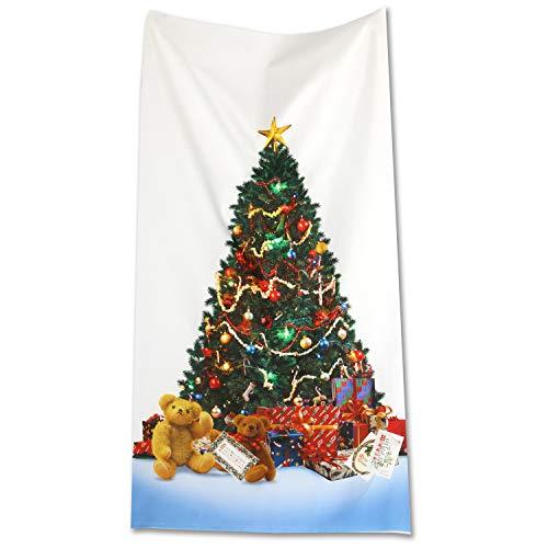 クリスマス インクジェットプリント パネル生地 ツリー柄 タペストリー 撮影背景 約縦110cm×横60cm ホワイト H7020-1A