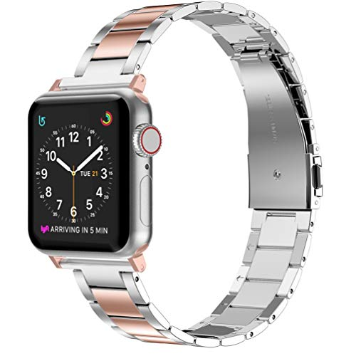 Wearlizer Stainless Steel Compatible with Apple Watch Band 42mm 44mm Women Men,Ultra-Thin Lightweight Replacement Compatible for iWatch Bands Series 5 4 3 2 1 (Series4&3Gold+Silver, 42mm 44mm)